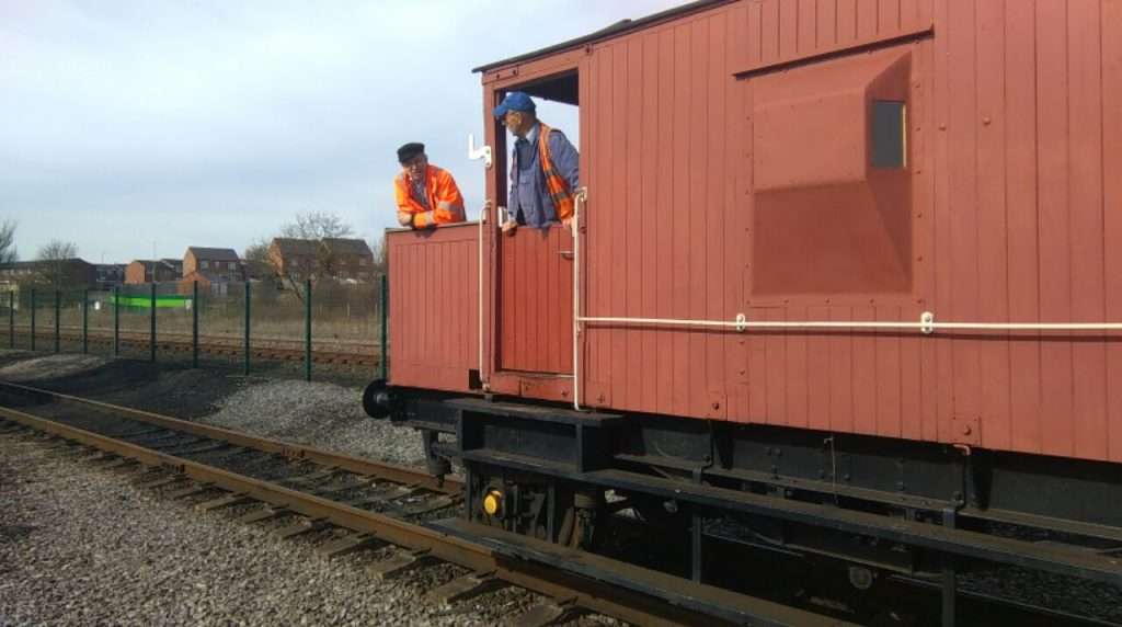 Tim and Martin in the brake van during driver assessments