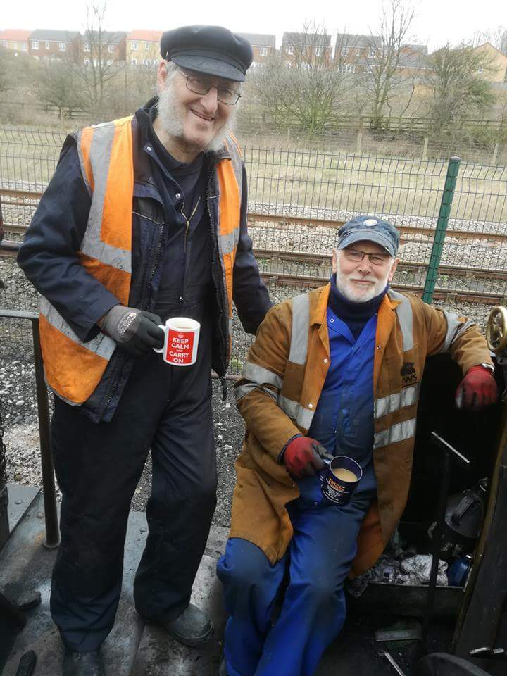 Alan on the footplate with fellow Shildon volunteer Terry Newman during assessments