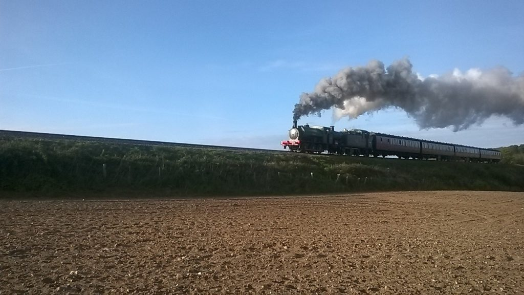 Ring Haw and 5643 double head the 17.43 from Sheringham to Holt on 22nd September 2017