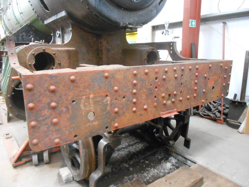 Wootton Hall's front buffer beam after attention from the needle gun