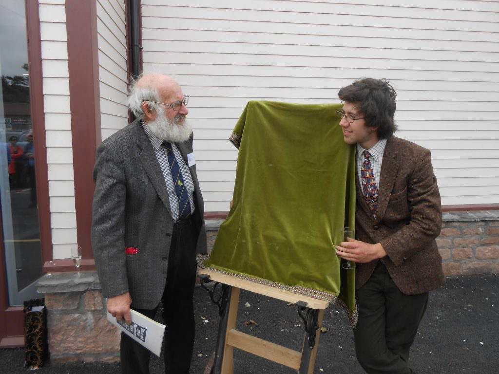 Peter and Dickon with the soon-to-be-unveiled plaque