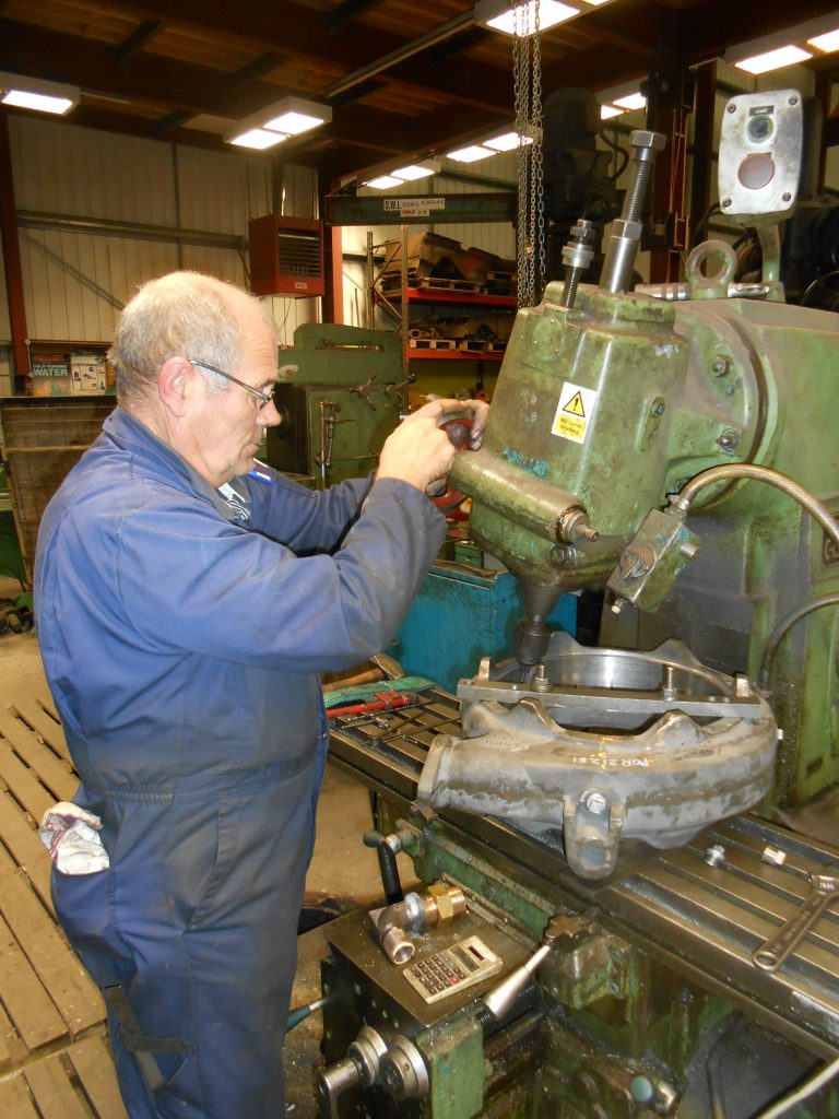 Steve Shearing machines the new blower ring for 5643