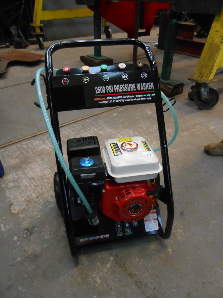 The new high pressure power washer is assembled
