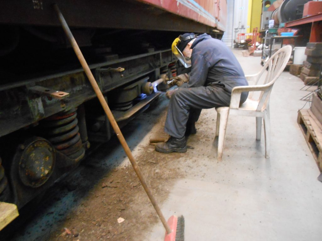 Roger cleans the TPO bogie