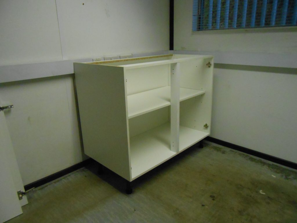 A new kitchen unit made up in the mess room