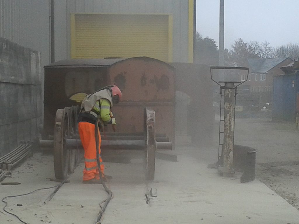 Wootton Hall's tender wheels being grit blasted on Saturday, 2nd December