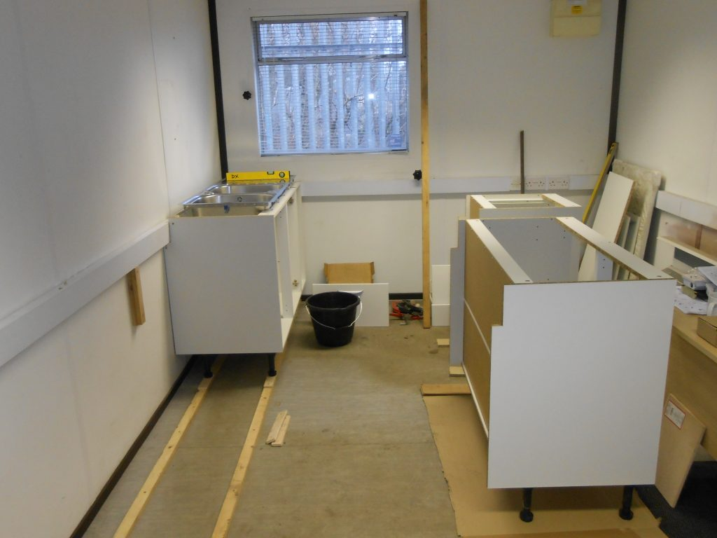 More new kitchen units under construction in the new mess room
