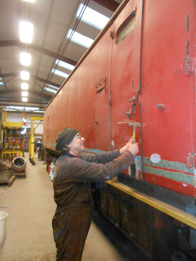 Adrian shows how C&W repairs should be carried out - with his hammer