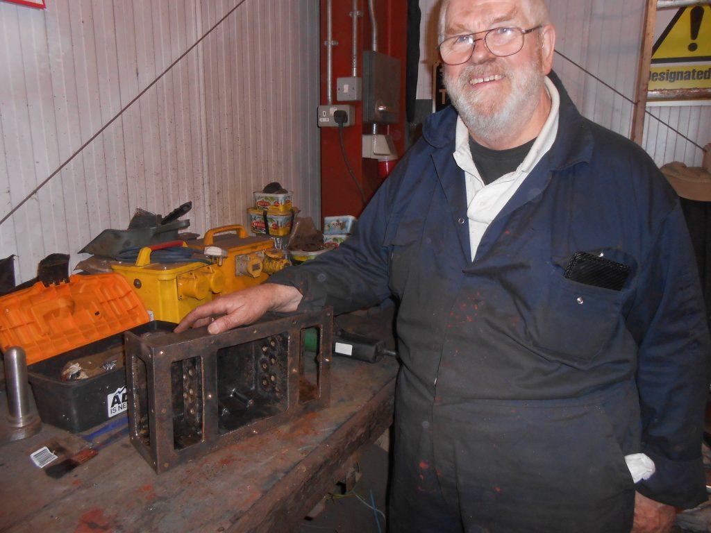 Alan Ogden with Fluff's fuse box