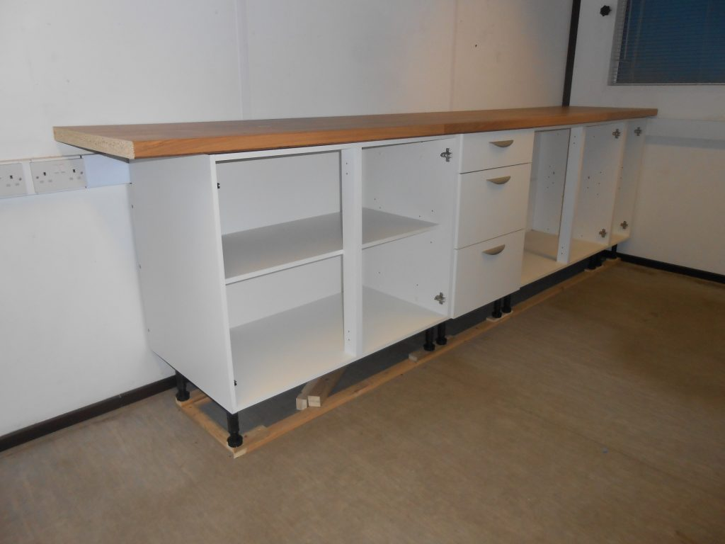 The new kitchen units and worktop taking shape