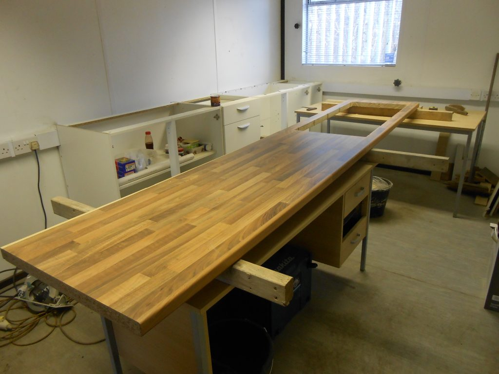 The new worktop cut for the sink