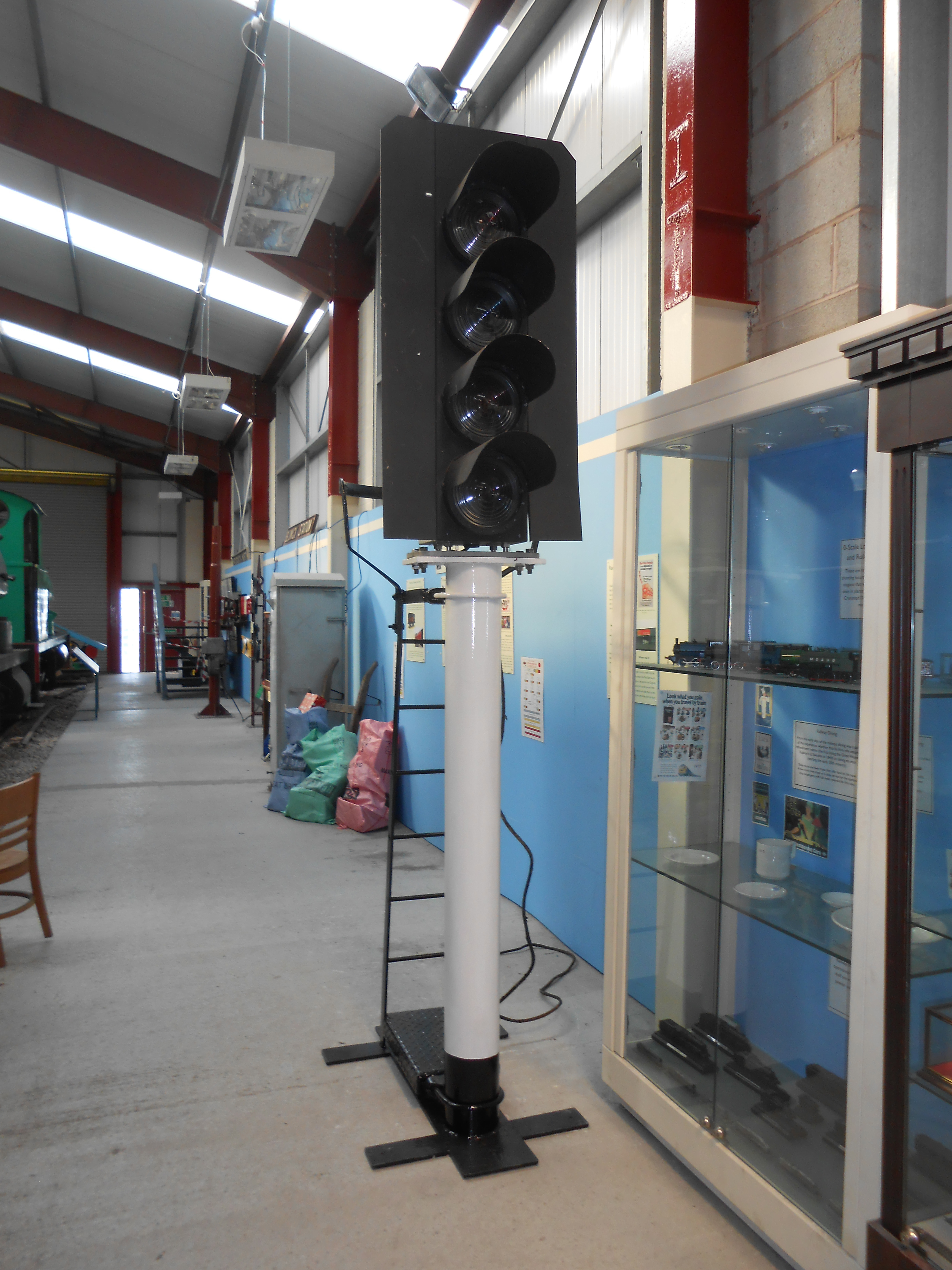 The restored signal post united with the lights in the Museum