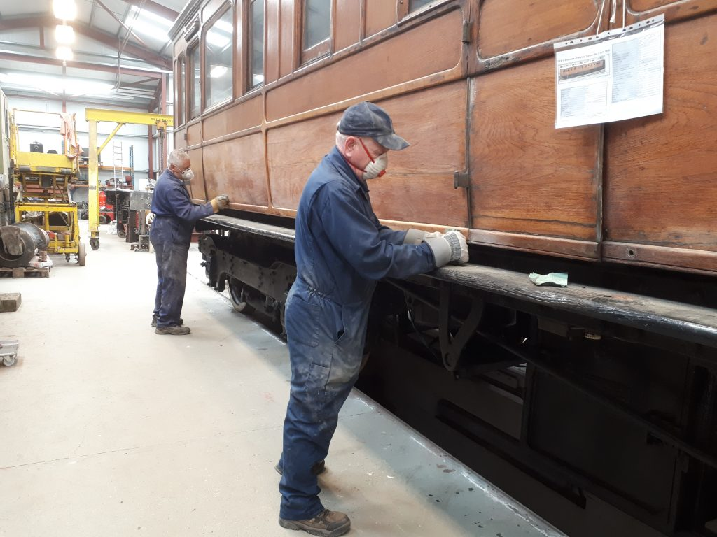 John David and Paul Newton sanding down GER No. 5 090518