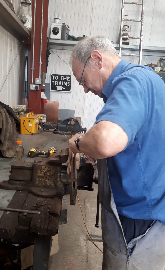 John Dixon repairing one of GER No. 5's droplights