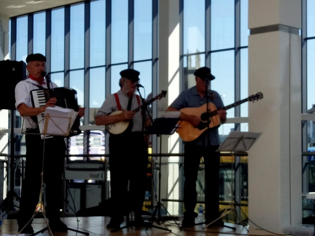Railway band in a bus station