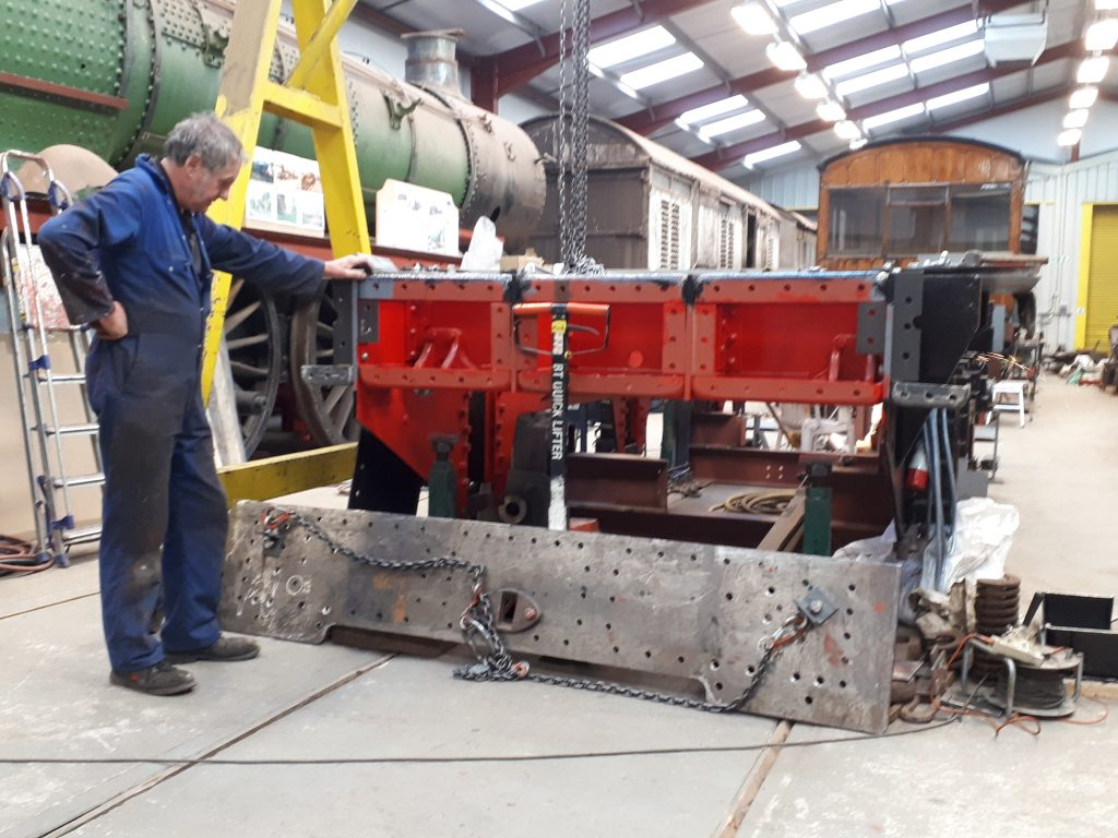 Keith with the rear buffer beam for Wootton Hall's tender ready for riveting