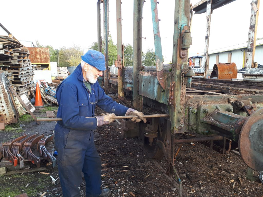 Roger Benbow removing wood from the PMV