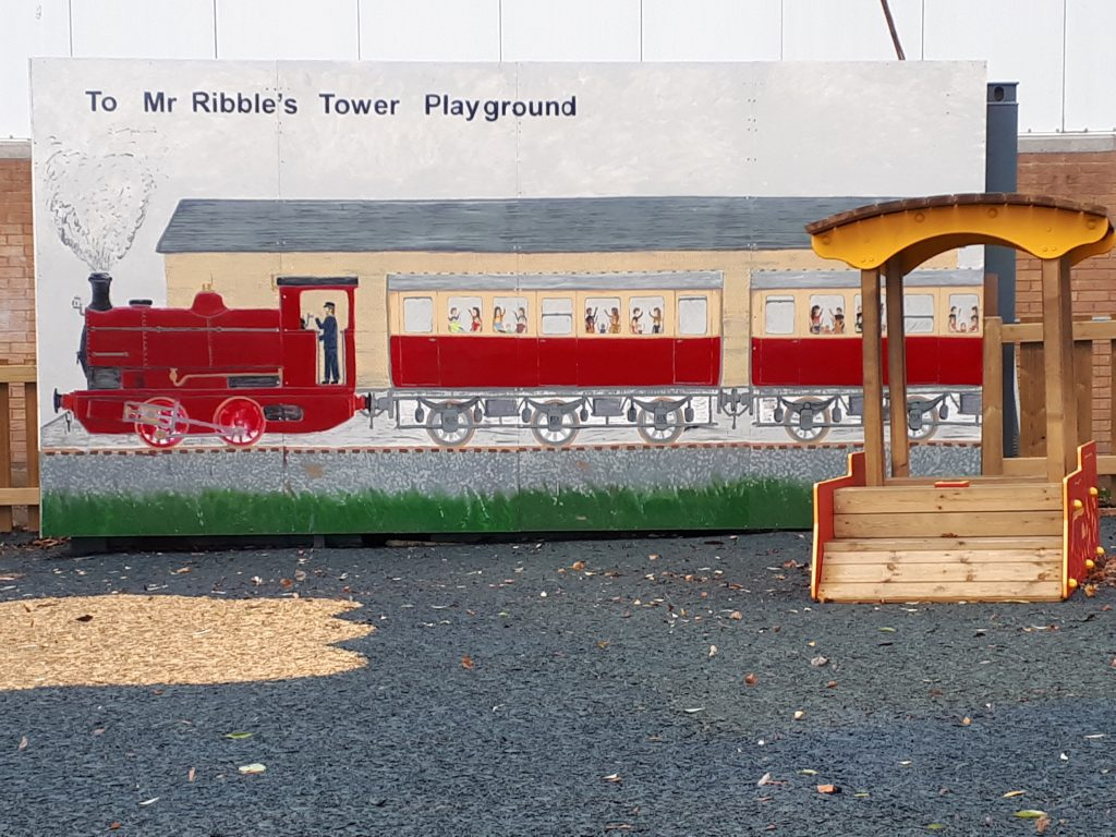 Bill Croston's new mural in place by the playground