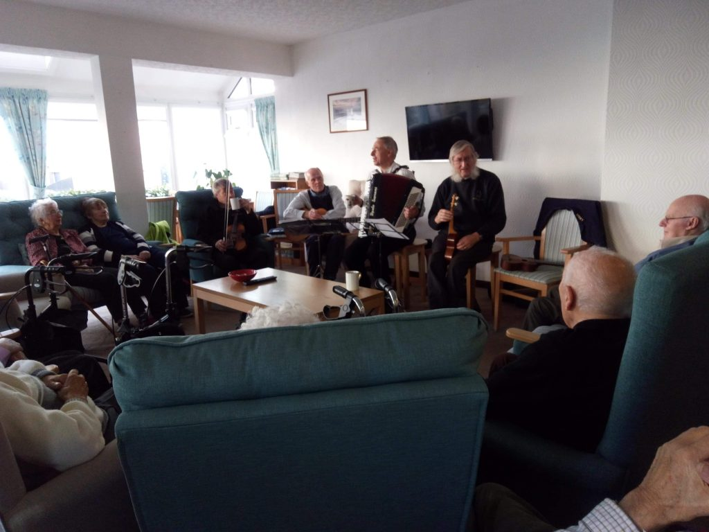The band entertains the Abbeyfield House residents