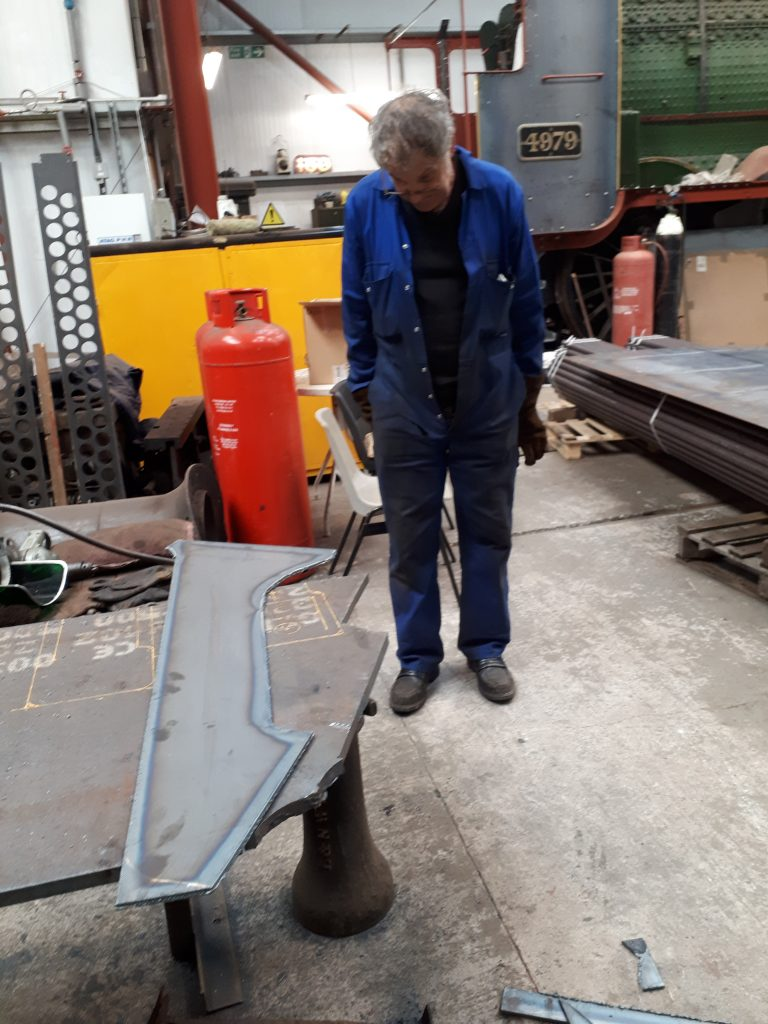 Keith with a newly cut corner stay for Wootton Hall's tender tank