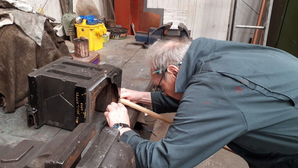 John Dixon measuring one of Wottoon Hall's axleboxes in order to make a pattern for a missing piece.