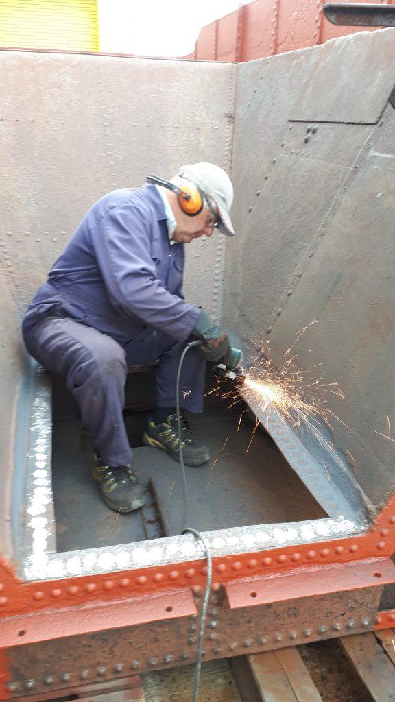 John Davis at work on Wootton hall's tender tank