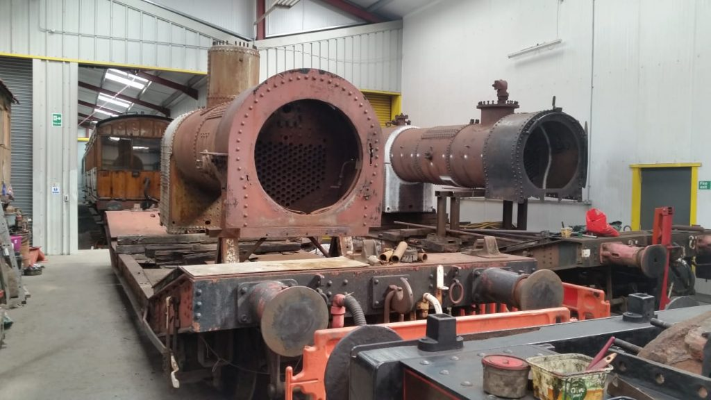 Caliban's boiler over the pit in the FRT shed with FR 20's boiler in the background