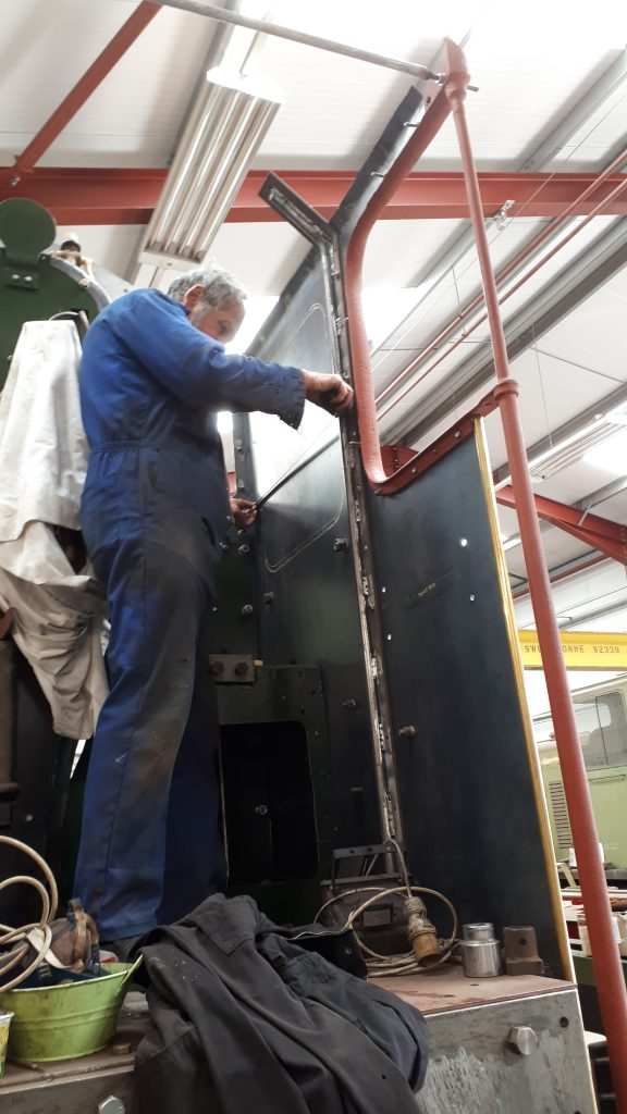 Keith working in Wootton Hall's cab