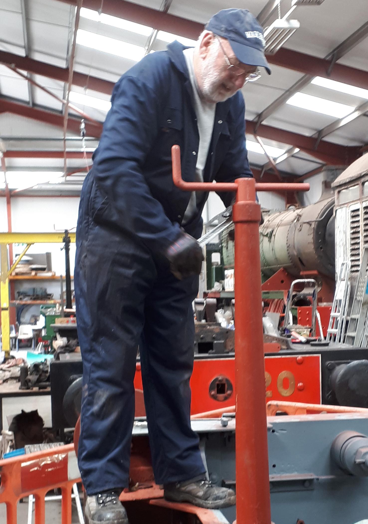Phil Bell reassembles Fluff's handbrake