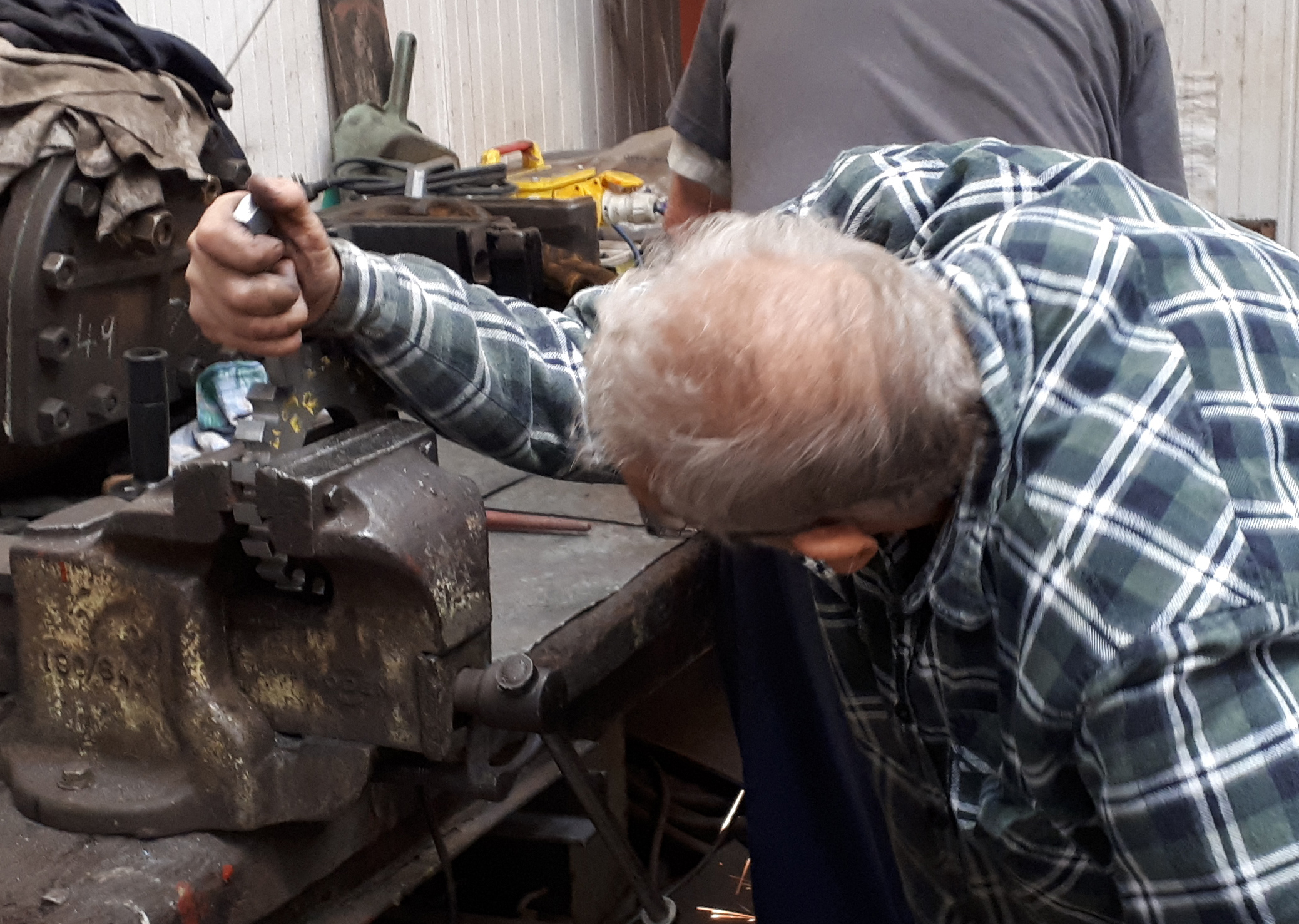 Bob Thomson working on Wootton Hall's reverser