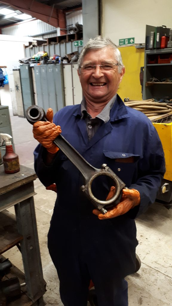 Alan Preston with one of Fluff's piston rods
