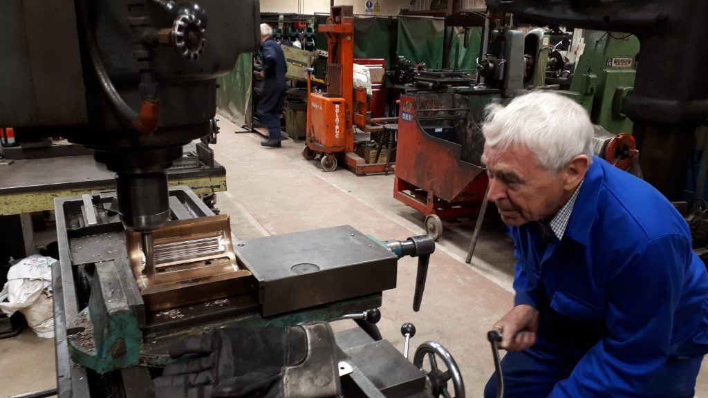 Bill Norcross machining one of the bearings