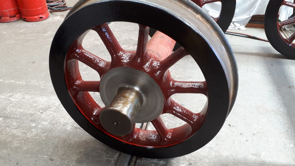 Newly lined out wheelset for FR 20's tender