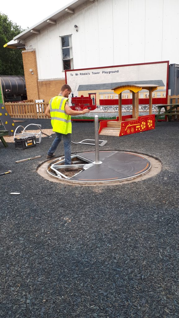 Alison's new roundabout being fitted