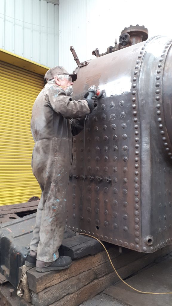 Fred cleaning off FR 20's boiler