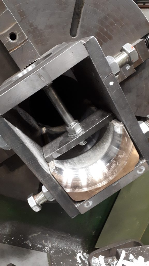 One of Wootton Hall's tender axlebox bearings in the process of being machined