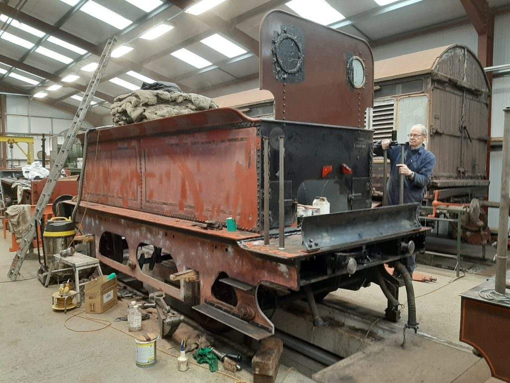 The tender upper almost complete with John Dixon attaching one of the top footplate hand rails