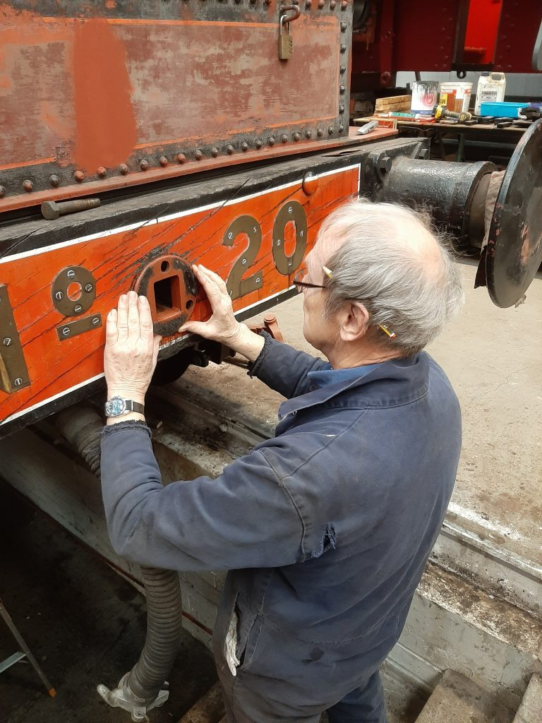 John Dixon at work on FR 20's tender drawgear