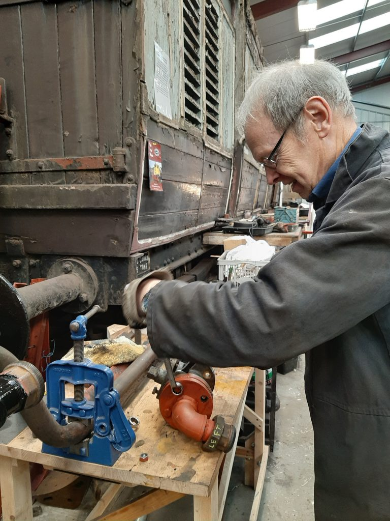 John at work on the stop cocks from FR 20's tender