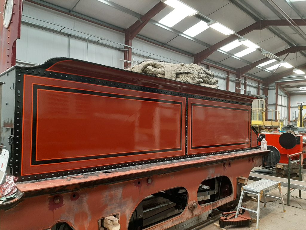 A shiny new coat of paint for the tender tank