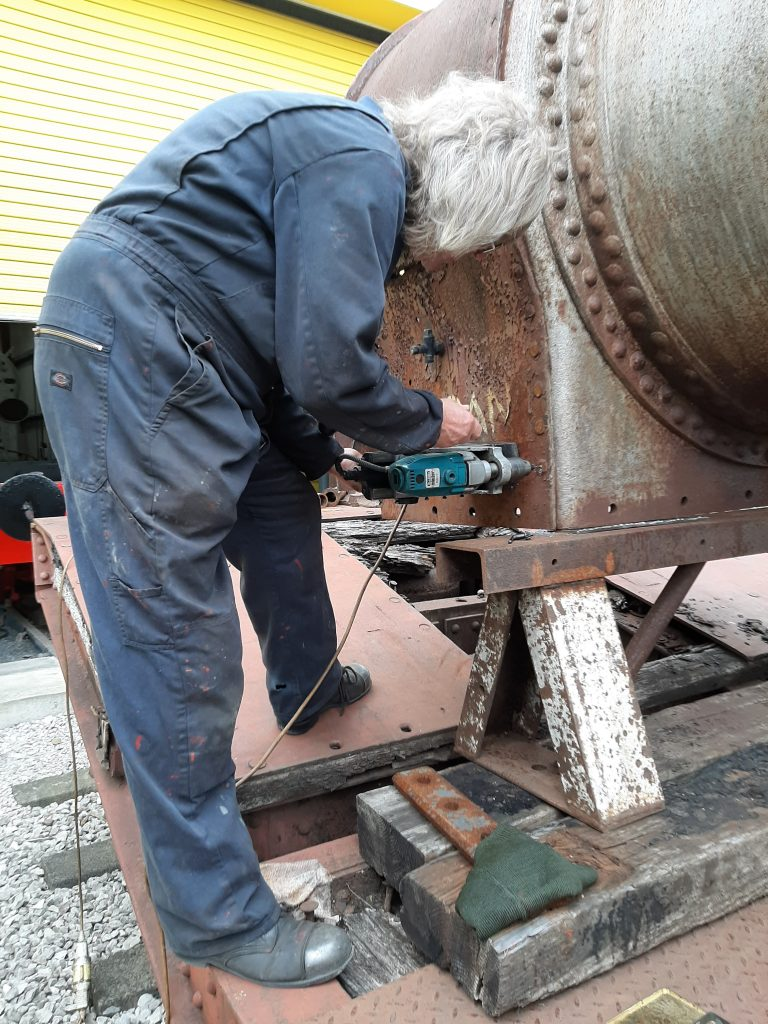 Ade drilling out one of Caliban's smokebox rivets