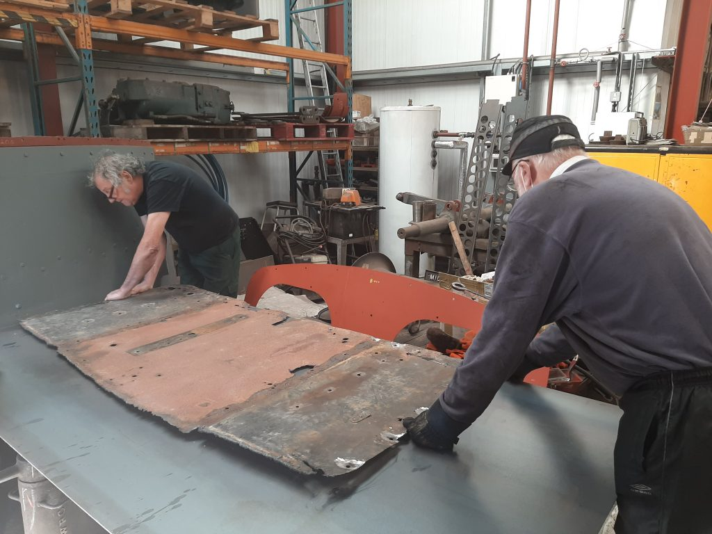 Keith and Phil Bell preparing to cut new steel for Fluff