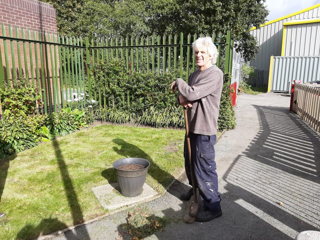 Ed and his spruced up garden