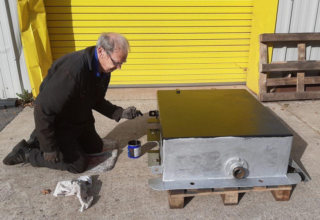 John painting the bottom of FR 20's ashpan