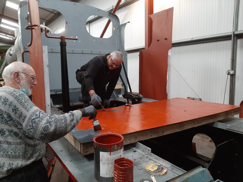 Phil Bell and John Davis painting more new steelwork for Fluff