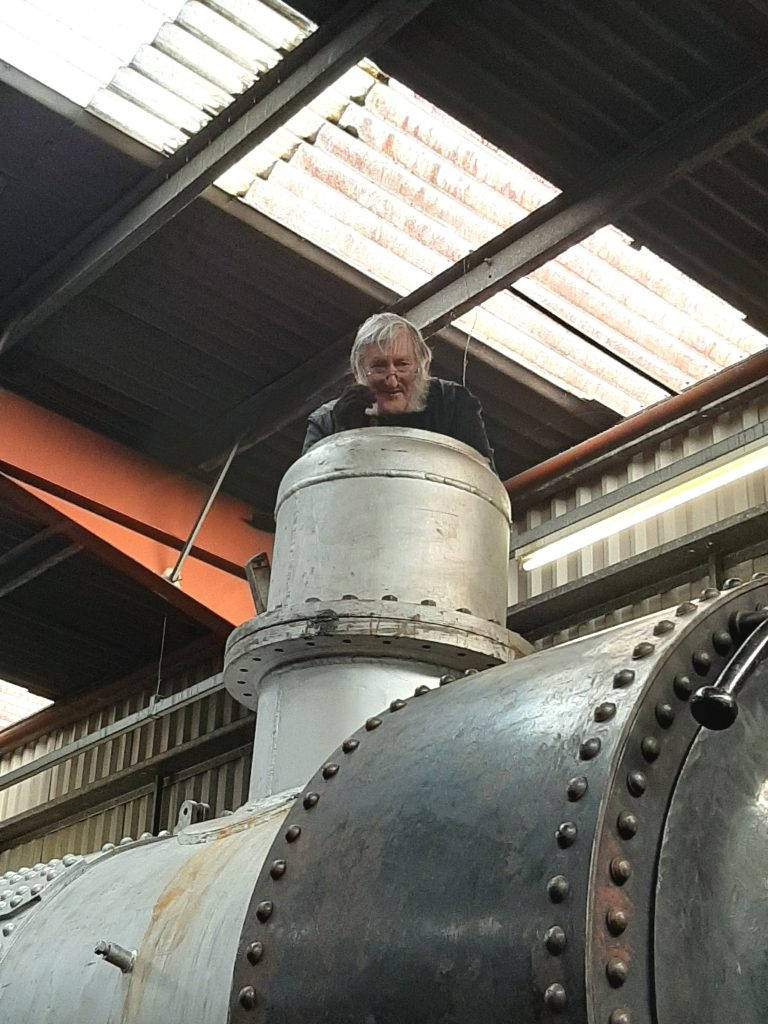 Alan on top of FR 20's boiler
