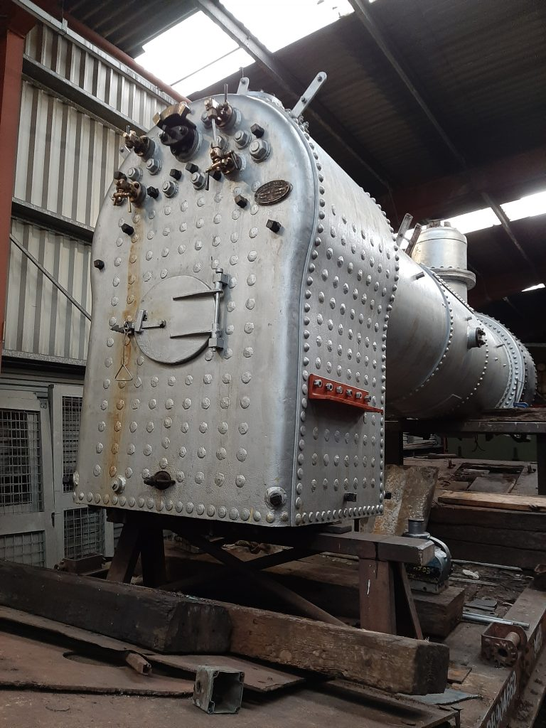 The boiler on its new support