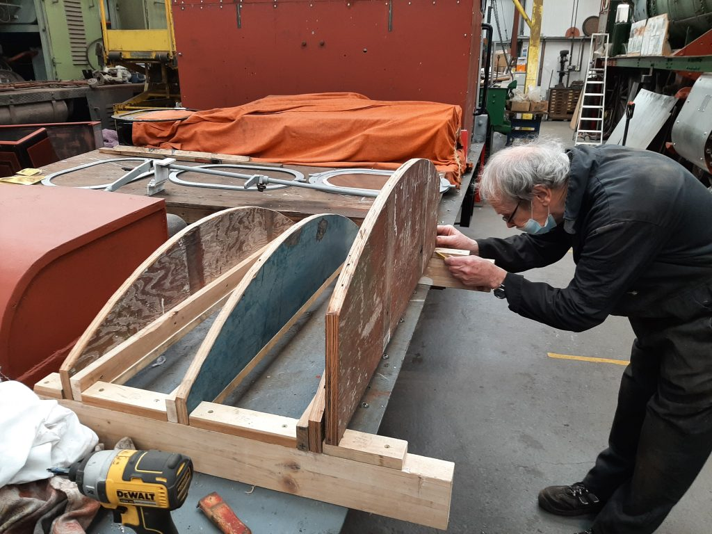 John Dixon constructing the new formwork to enable FR 20's new brick arch to be made