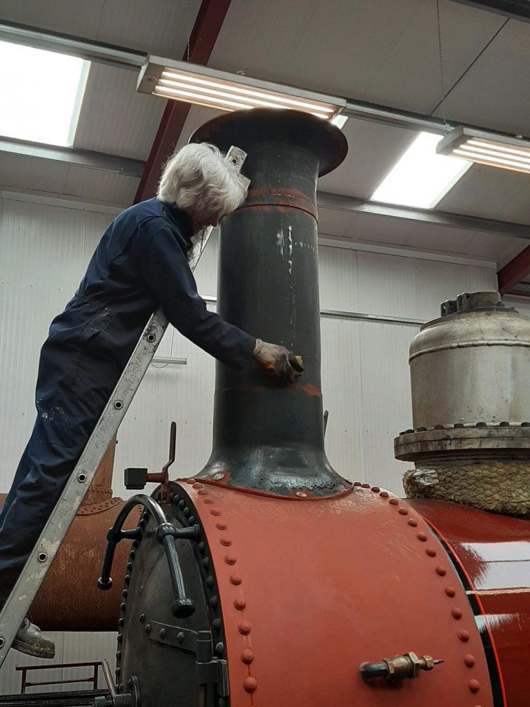 Ed rubs down FR 20's chimney