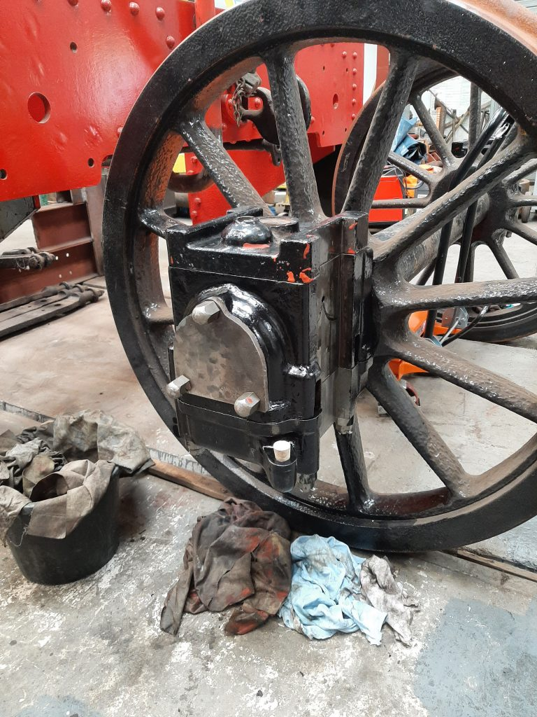Newly assembled axlebox on one of Wootton Hall's tender wheelsets